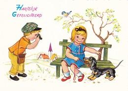 Dackel Teckel  Dachshund  Chien  Enfant Modern Postcard - Dogs