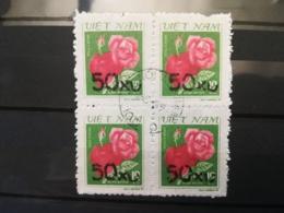 FRANCOBOLLI STAMPS VIETNAM VIET NAM 1984 USED SERIE ROSE ROSES SOVRASTAMPATE OVERPRINT QUARTINA DA FOGLIO - Vietnam