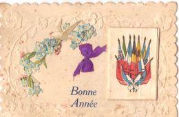 Carte Avec Découpages Et Collages : Bonne Année   Fleurs Et Calendrier 1917 Collé - Anno Nuovo