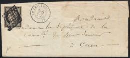 N°3, 20c Noir, Lettre De LE TEILLEUL Manche Pour Caen 1850 - Signé BAUDOT - 1849-1850 Cérès