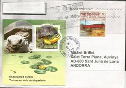 Endangered Turtles.Tortues En Voie De Disparition.Tortue Mouchetée.Bloc-feuillet Canada 2019, Sur Lettre Andorra - Schildkröten