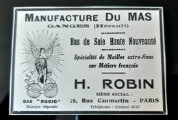 MANUFACTURE DU MAS 34 GANGES BAS DE SOIE ROBIN MAILLES EXTRA FINE METIERS FRANCAIS PUBLICITE 1926 SOIE SILK STOCKINGS AD - Publicités