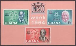 Ghana 1964 - UNESCO Week: Albert Einstein Et Al - Miniature Sheet With Printed Perf Mi Block 13 (195-197) ** MNH - Albert Einstein