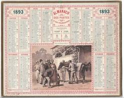 """Almanach Des Postes Et Télégraphes  1893 """" Voici Un Cheval Parfait""""  Hippisme TB état Complet   Ili. Boulineau - Calendriers"""