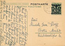 GENERALG. / PIASKI  (Lublin)  - 18.10.1940 , Polnische Ganzsache (Druckdatum X-1938)  Mit Überdruck - Nach Berlin-Moabit - Occupation 1938-45