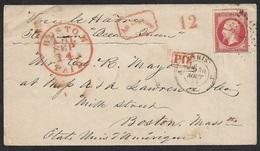 1859 - France - LSC - 80c Napoleon A Boston, Etats Unis - Voie Le Havre Par Steamer Ocean Queen - 1853-1860 Napoleon III