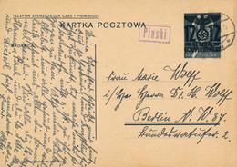 GENERALG. / PIASKI  / LUBLIN - 31.7.1940 , Polnische Ganzsache (Druckdatum VI-1938 !) Mit Überdruck - Nach Berlin-Moabit - Besetzungen 1938-45