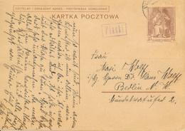 GENERALG. / PIASKI / LUBLIN - 19.4.1940 , Polnische Ganzsache (Druckdatum VI-1939)   -  Nach Berlin-Moabit - Occupation 1938-45