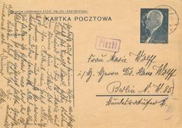 GENERALG. / PIASKI / LUBLIN - 25.6.1940 , Polnische Ganzsache (Druckdatum VI-1939)   -  Nach Berlin-Moabit - Besetzungen 1938-45