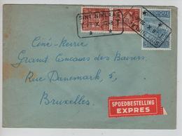 SJ170/ TP 762(2)-765 S/L.Exprès C.T.T.Sint Niklaas 28/10/1948 > BXL Verso Vignette Preventorium Mont S/Marchienne - Cartas