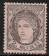 1870-ED. 103  GOB. PROVISIONAL. EFIGIE ALEGÓRICA DE ESPAÑA- 2 MILESIMAS NEGRO S. SALMÓN-NUEVO SIN GOMA-MNG - 1868-70 Gobierno Provisional