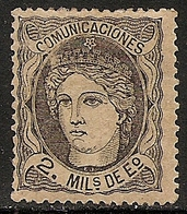 1870-ED. 103a  GOB. PROVISIONAL. EFIGIE ALEGÓRICA DE ESPAÑA- 2 MILESIMAS NEGRO S. ANTEADO-NUEVO SIN GOMA-MNG - 1868-70 Gobierno Provisional