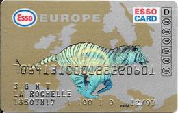 CARTE-MAGNETIQUE-CARBURANTS-ESSO CARD-FRANCE-Exp 12/97-TIGRE  OR/ Fond Argent--V° 13-100 DATA CORBY-TBE-RARE - Frankrijk
