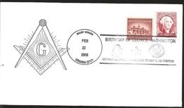 J) 2008 UNITED STATES, MASONIC SYMBOL, BIRTHDAY OF GEORGE WASHINGTON MASONIC STAM CLUB STATION, MOUNVERTON, MULTIPLE STA - United States