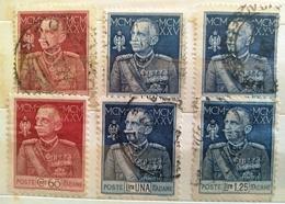 ITALIA REGNO 1925-6 SERIE USATA CON LE DUE DENTELLATURE - 1900-44 Vittorio Emanuele III
