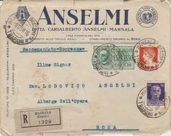 Marsala. 1938. Annullo Guller MARSALA RACCOMANDATE *TRAPANI*, Su Busta R Intestata ANSELMI. Al Verso Chiudilettera. - 1900-44 Vittorio Emanuele III