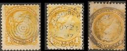 Canada 1870 Victoria 1c Citron, 3 Stamps In Various Formats - 1851-1902 Regno Di Victoria