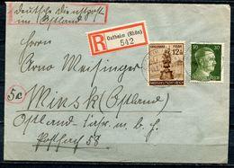 """German Empires 1944 Reco Bedarfsbrief M. Mi.Nr.886 MIF Als Deutsche Dienstpost Im Ostland Mit Reco Label""""OSTHEIM""""1 Beleg - Alemania"""
