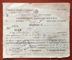 BIGLIETTO FERROVIE DELLO STATO SERVIZIO INTERNO  FORLI' 4/5/1929 - Europa