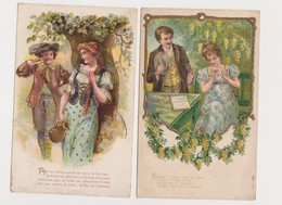 2 Cartes Fantaisie Gaufrées / Couples , Poésies - Couples