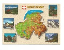 74-Carte Contour Géographique Du Département De La HAUTE SAVOIE - Carte Geografiche