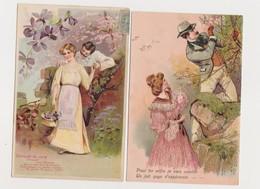 2 Cartes Fantaisie Gaufrées / Couples , Cueillette De Fleurs - Couples