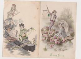 2 Cartes Fantaisie  / Promenade En Gondole , Promenade En Barque - Phantasie