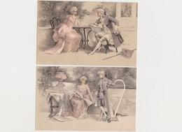 2 Cartes Fantaisie  / Couples En Habits XVIIIè , Conversation , Lecture , Musique - Couples