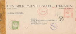 Curacao - 1945 - 10 Cent Port P31, Enkelfrankering Op Censored Businesscover Van Buenos Aires Naar Aruba - Curaçao, Antilles Neérlandaises, Aruba