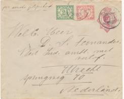 Curacao - 1920 - 5 Cent Wilhelmina, Envelop G12 + 7,5 Cent Van Curacao Naar Utrecht / Nederland - Curaçao, Nederlandse Antillen, Aruba