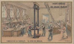 Chromo - Fabrication Du Chocolat - Usine - Mise En Moules - Publicité Société Générale Des Cirages Français Paris - Cromos