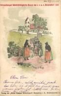 67 - STRASBOURG - Lithographie Signée Henri LOUX - Nach D'r Kirich - Sortie De Messe En 1903 - Illustrateur Rare - Strasbourg