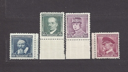 Czechoslovakia 1935 MNH ** Mi 347-350 Sc 212, 215-217 Pictures Komensky, Benes, Stefanik, Masaryk C11 - Unused Stamps