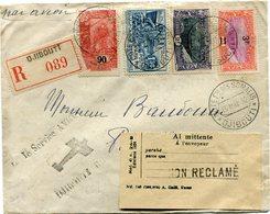 COTE FRANCAISE DES SOMALIS LETTRE RECOMMANDEE AVEC ETIQUETTE DE RETOUR A L'ENVOYEUR MOTIF NON RECLAME DEPART.......(RR) - Lettres & Documents