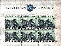 6240) SAN MARINO-Veduta Di San Marino - BLOCCO FOGLIETTO - 27 Febbraio 1958-MNH** - Blocchi & Foglietti