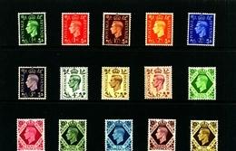GREAT BRITAIN - 1937-47  KGVI DARK COLOURS   SET  MINT - Nuovi