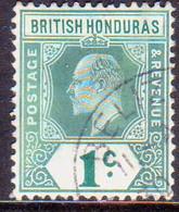 British Honduras 1906 SG #84a 1c Used Chalk-surfaced Paper Wmk Mult.Crown CA - British Honduras (...-1970)