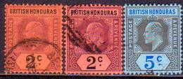 British Honduras 1904-06 SG #85,85a,86 3 Stamps Used All Wmk Mult.Crown CA - British Honduras (...-1970)