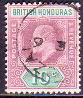 British Honduras 1907 SG #87 10c Used CV £20 - British Honduras (...-1970)