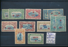 BELGIAN CONGO 1918 ISSUE RED CROSS COB 72/80 RUST ON THE 10FR LH - Belgian Congo