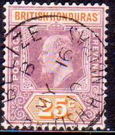 British Honduras 1907 SG #89 25c Used Wmk Mult.Crown CA CV £60 - British Honduras (...-1970)