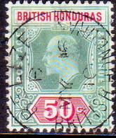 British Honduras 1907 SG #90 50c Used Wmk Mult.Crown CA CV £100 - British Honduras (...-1970)