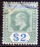 British Honduras 1907 SG #92 $2 Used Wmk Mult.Crown CA CV £275 - British Honduras (...-1970)