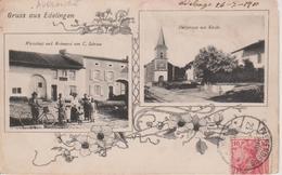 57 - ADELANGE - 2 VUES - RESTAURANT SCHRAM ET L'EGLISE - CARTE RARE - Sonstige Gemeinden
