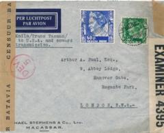 Nederlands Indië - 1940 - 60 & 40 Cent Wilhelmina Op 2x Censored Cover Van Makassar - Knilm / Trans Tasman Naar London - Niederländisch-Indien