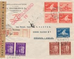 Nederlands Indië - 1940 - 9 Zegels Sociaaal Bureau Op Censored R-cover Van PV2 Soerabaja Naar LB Soerabaja Simpang - Niederländisch-Indien