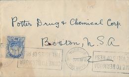 1928 BERMUDA , SOBRE CIRCULADO , HAMILTON - BOSTON , GALEÓN 2 1/2 D. - Bermudas