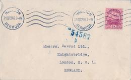 1924 BERMUDA , SOBRE CIRCULADO , HAMILTON - LONDRES , GALEÓN - 1 D. - Bermudas