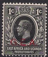 East Africa & Uganda 1917 - 21 KGV 1ct Black MM SG 45 GEA Ovpt ( M1388 ) - Kenya, Uganda & Tanganyika