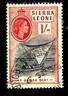 SIERRA LEONE 188° 1s Rose-rouge Elisabeth II Barque Indigène (10% De La Cote + 0,15) - Sierra Leone (...-1960)